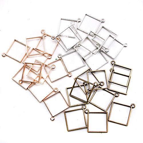 (JETEHO 30pcs 3 Colors Square Open Back Bezel Pendant for Pressed Flower, Resin, Polymer - Zinc Alloy Square Open Back Frame with 1 Loop, Rose Gold&Antique Silver&Bronze)
