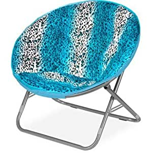 plush padded folding moon saucer chair for kids and adults large round faux fur. Black Bedroom Furniture Sets. Home Design Ideas