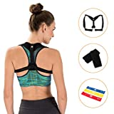 Posture Corrector for Women & Men - Effective and Comfortable - Shoulder Support & Neck Pain Relief - Include Underarm Pads and Bonus Set of Resistance Loop Exercise Bands with Carry Bag - by Minlox