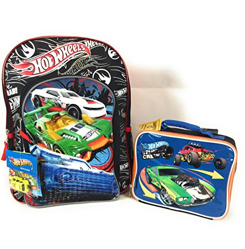 Hot Wheels 16 Backpack Thermos Insulated Lunch Box Free Bonus Car (Varies) Stunt Crew Combo 2 Piece Set