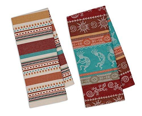(Design Imports Southwest Table Linens, 18-Inch by 28-Inch Dishtowels, Set of 2, 1 Southwest Stripe Jacquard and 1 Santa Fe Dobby Stripe)