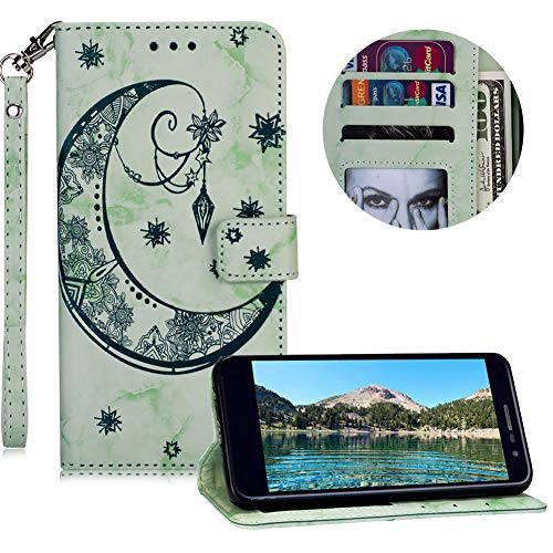 (Marble Moon Embossed Flower Soft Wallet Leather Case for LG K10 2018,MOIKY Wrist Strap Magnetic Flip Stand Function Case for LG K10 2018 with Card Slot Pockets,Green)
