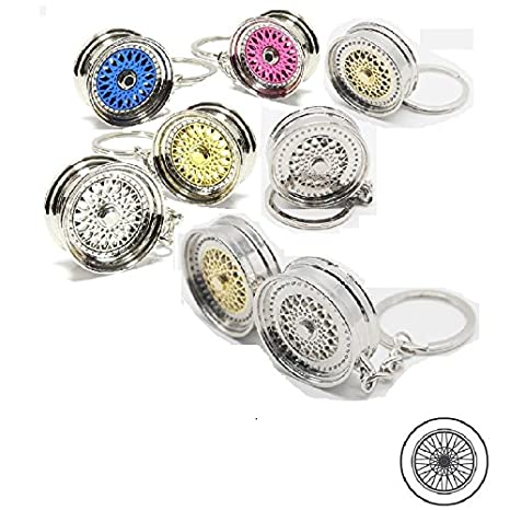 Universal Silver 5 Deep Dish Spoke Rim Wheel Style Key Chain Ring FOB Keychain