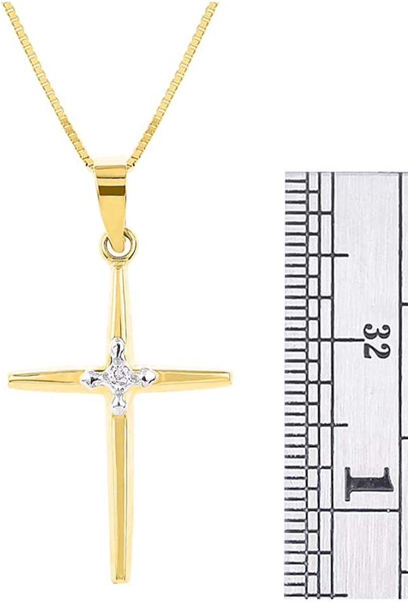 RYLOS Diamond Cross Necklace in 14K Yellow Gold or 14K White Gold with 18 Solid Gold Chain