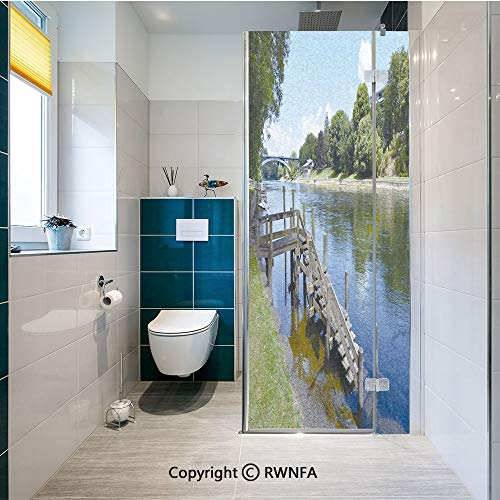 Non-Adhesive Privacy Window Film Waikato River Hamilton City New Zealand Holiday Destination Travel Landmark Door Sticker Glass Film 17.7 in. by 47.2in. (45cm by 120cm),Green Blue Grey]()