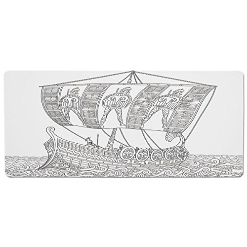 iPrint Pet Mat for Food and Water,Toga Party,Soldiers with Spears in Stylized Ancient Greek Galley Warship on Swirled Waves Decorative,Black White,Rectangle Non-Slip Rubber Mat for Dogs and Cats
