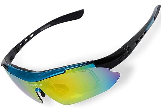 Sava Gafas de Sol Deportivas Polarizadas Tr90 Manera Reflexiva de Deportes Al Aire Libre Para Bicicleta Actividades con 5 Lentes de Ciclismo Gafas Sol Ciclismo Deporte(Azul): Amazon.es: Zapatos y complementos