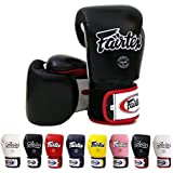 Fairtex Muay Thai Boxing Gloves BGV1 Color: Black Blue Red Yellow White Size : 10 12 14 16 oz. Training Sparring Gloves for Kick boxing MMA K1