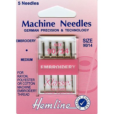 Hemline H108.90 | Med Embroidery Machine Needles 5x 90/14 Rayon/Cotton/Polyester Groves