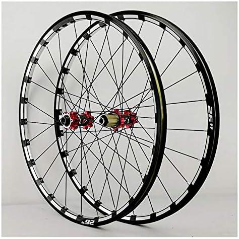 Bike Wheelset ストレートプルハブ24穴アナル7/8/9/10/11/12スピードフリーホイール付き26インチ自転車フロントリアホイールMTBホイールセットダブルウォールアルミ製ディスクブレーキ (Color : B)