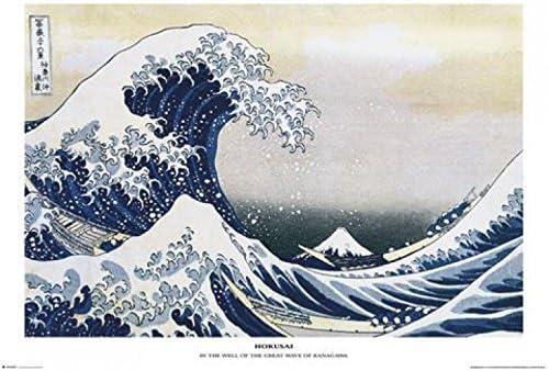 91 x 61cm 1art1 Katsushika Hokusai Poster et Cadre MDF - La Grande Vague De Kanagawa