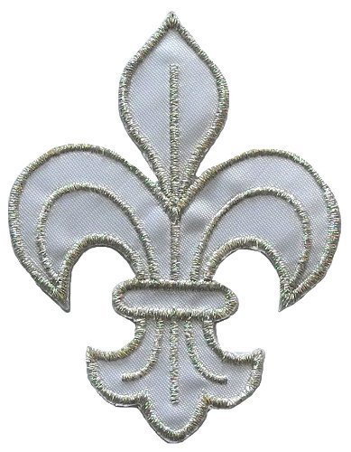 White-Silver Fleur de Lis Scout DIY Applique Embroidered Sew Iron on Patch ()