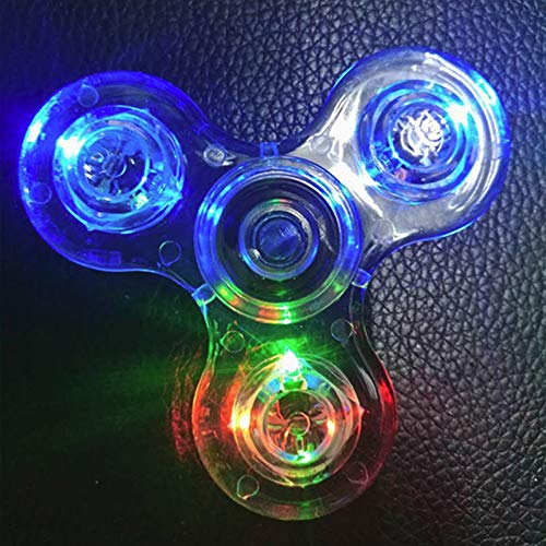 Fidget Spinner [5 Pcs] MEGA Pack, Crystal Led Light Up Rainbow Toy, Clear Fidget Toy |The Mesmerizing Led Lights| Sensory Finger Fiddle Toy |For Boredom Adhd Anxiety Stress Relief |Adults, Boy N Girls by TornadoZ (Image #8)