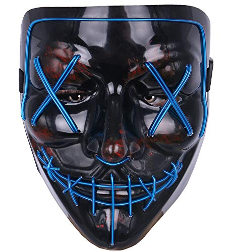 Topcosplay Men's Costume Masks Led EL Wire Purge