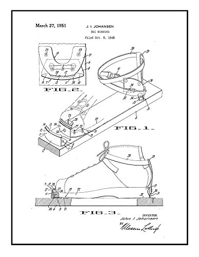 Ski Binding Patent Print Art Poster Black Ink on White with Border