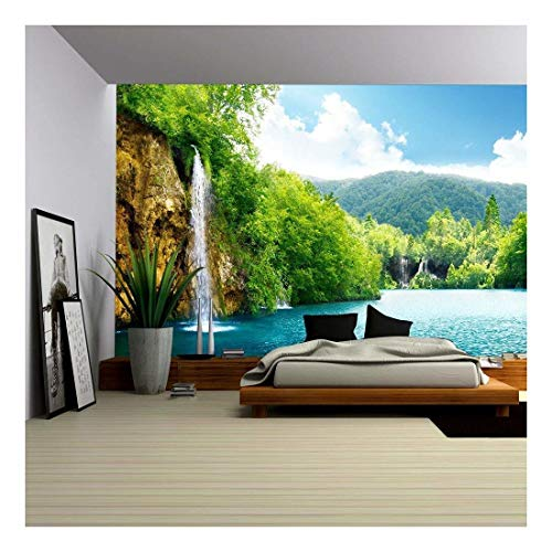 (wall26 - Waterfall in Deep Forest of Croatia - Removable Wall Mural | Self-Adhesive Large Wallpaper - 66x96 inches)