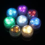 Thiroom 12pcs RGB Waterproof Submersible Aquarium Fish Tank Bar Vase Light Tealight Candle Light with Remote For Wedding Birthday Anniversary