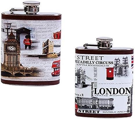 DISOK - Petaca London - Petacas Originales para Detalles de Bodas, Bautizos y Comuniones. Hombres y Mujeres, Estilo Retro,Vintage. Petacas