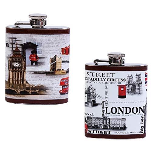 Compra DISOK - Petaca London - Petacas Originales para Detalles de Bodas, Bautizos y Comuniones. Hombres y Mujeres, Estilo Retro, Vintage.