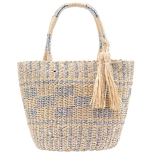 Womens Straw Bag Handwoven Summer Beach Top Handle Tote Silver Thread Blend Weaving Travel Handbag Purse