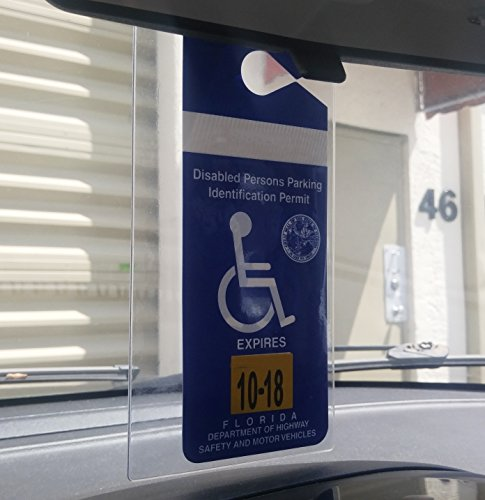4 Pack - Clear Handicap Parking Placard Protective Holders - Rear View Mirror Disability Permit Hanger - Hard Flexible Plastic Construction - by Specialist ID by Specialist ID (Image #1)