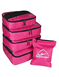 5pc Packing Cubes Set Large Travel Luggage Organizer 4 Cubes 1 Laundry Pouch Bag(Rose)