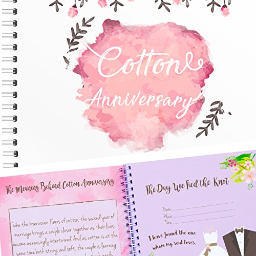 Unconditional Rosie Unique 2nd Wedding Anniversary Memory Book Stickers A Matching Card - 5-Second Memory Journal Your Special Cotton Anniversary - The Perfect Keepsake Booklet Special Memories (Card 2nd Memory)