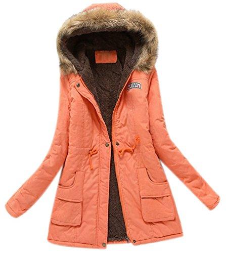 Style paissir avec Capuche Femme Manches Chaud Orange Mode Parka Fille Manteau Hiver Longue Peluche Militaire Minetom wCYx67nY