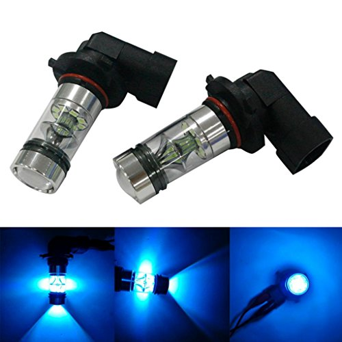 Ecosin Fashion 2X H10 9005 9006 100W 20LED HID 2323 Fog Driving DRL Light Bulbs (Sky Blue)
