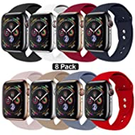 NUKELOLO Sport Band Compatible with Apple Watch 38MM 40MM 42MM 44MM,Soft Silicone Replacement...