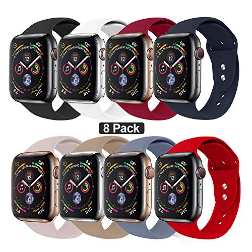 NUKELOLO Sport Band Compatible with Apple Watch 42MM 44MM,Soft Silicone Replacement Strap Compatible for Apple Watch Series 4/3/2/1 [M/L Size in 8 Pack Color] from NUKELOLO