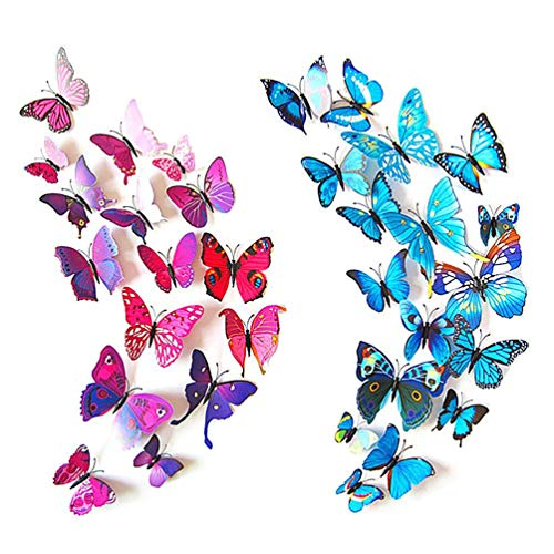 ElecMotive 12 Purple  12 Blue 3D Butterfly Stickers Home Decoration DIY Removable Vivid Manmade Lively DIY Decor Wall Stickers for Wall Decor Home Decor Wall Art Kids Room Bedroom Living Room Decor