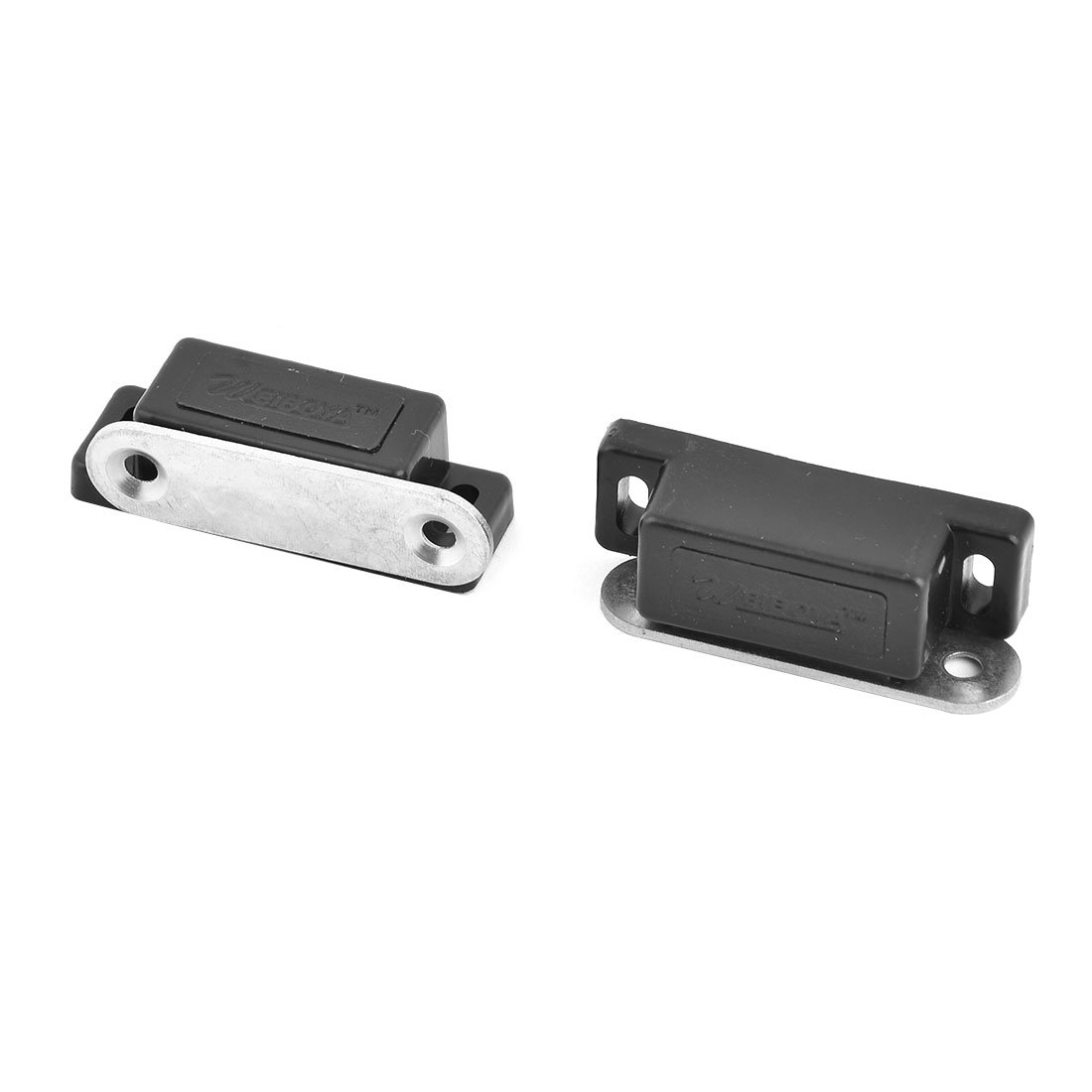 uxcell Plastic Household Cabinet Door Stopper Holder Magnetic Catch Latch 2pcs Black