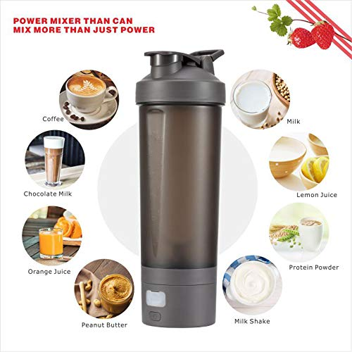 Protein Shaker Bottle Blender, CRSURE Portable Blender Cup for Shakes and Smoothies Mixer Shaker Cups, 28 oz Rechargeable Vortex Mixer | BPA Free | Leak Proof, Electric Shake Bottles for Powder (Gray) by CRSURE (Image #7)