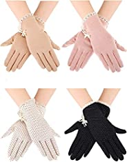 zhihu 4 Pairs Summer UV Protection Sunblock Gloves Non-Slip Touchscreen Driving Gloves Bowknot Floral Gloves f