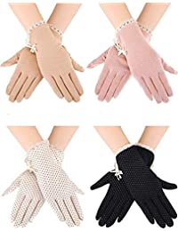 zhihu 4 Pairs Summer UV Protection Sunblock Gloves Non-Slip Touchscreen Driving Gloves Bowknot Floral Gloves for Women Girls (4 Colors)