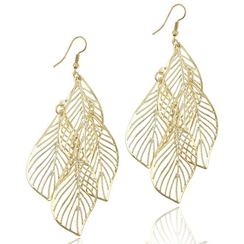 Gold Hollow Leaf Chandelier Drop Dangle Earrings for Women Girls