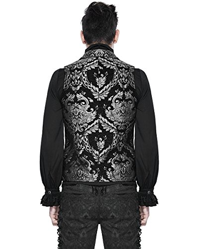 DEVIL FASHION UOMO GILET NERO ARGENTO DAMASCO GOTICA Steampunk Aristocrat