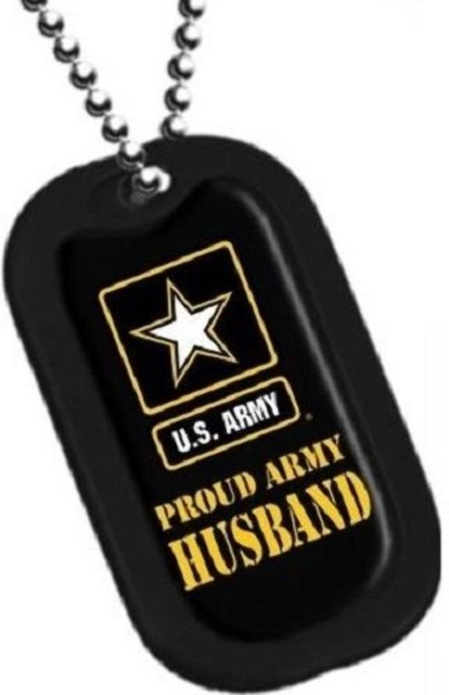 Dog Tag Key Chain Necklace Engrave-Able U.S. Military Proud Army Husband #2794