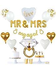 ديكورات حفلات خطوبة ذهبية من فيدال كرافتس، لافتة ذهبية، بالون MR&MRS، خاتم عملاق، بالونات القلب، بالونات القصاصات اللاتكس الذهبية، ديكور ذهبي