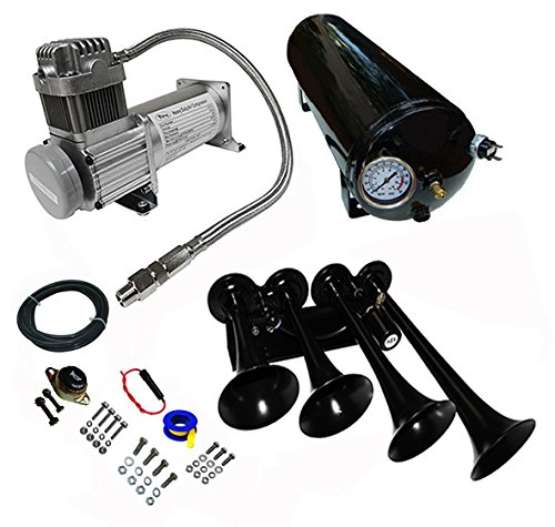 Viking Horns Loud 149dB Black Train Air Horn Kit With 150 PSI Air Compressor 1.5 Gal Air Tank -
