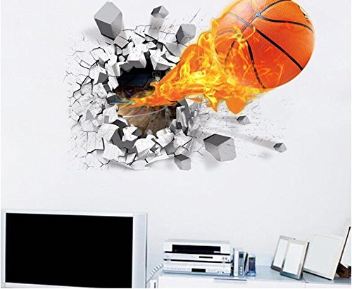Weaeo Adhesivo De Pared 3D De Baloncesto Para Niños Habitación ...
