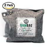 2 Pack- 200g Activated Bamboo Charcoal bags by BAMBAG. Natural Air Purifying bags. Great for eliminating odors in Refrigerators, Gym Bags, Travel Bags, Bathrooms, Cars etc...Non Toxic and Eco Friendly