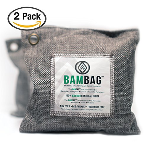 Odor Eliminating Air (2 Pack- 200g Activated Bamboo Charcoal bags by BAMBAG. Natural Air Purifying bags. Great for eliminating odors in Refrigerators, Gym Bags, Travel Bags, Bathrooms, Cars etc...Non Toxic and Eco Friendly)
