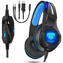 [Patrocinado] alámbrico Over-Ear Auriculares con micrófono Luz LED de cancelación de ruido auriculares estéreo con micrófono de juegos para PC & Mac, Negro/Azul