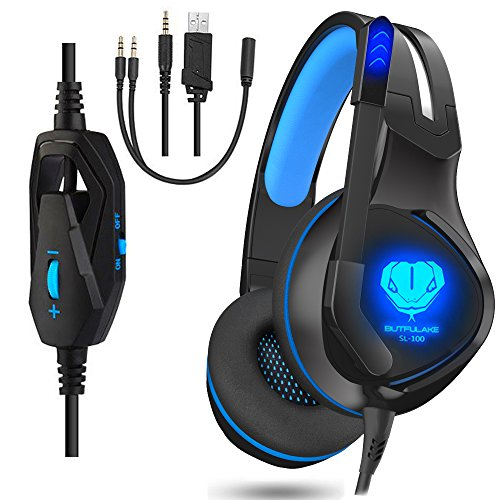 Gaming Headset for PS4, XBOX One, Nintendo Switch, Noise Canceling Earphone, LED Light Stereo Over-Ear Wired Headphones with Mic, Earphone for Laptop, Mac, PC (Black/Blue)
