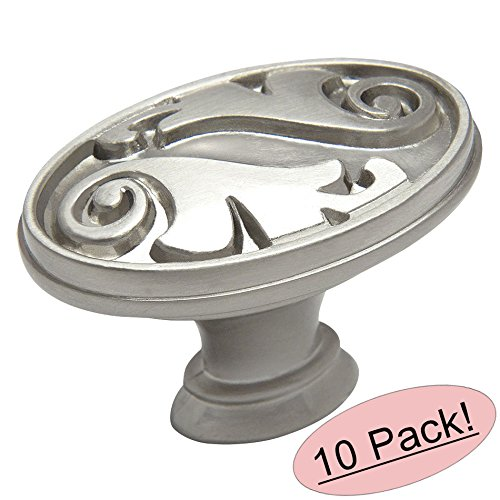 10 Pack - Cosmas 4297SN Satin Nickel Floral Cabinet Hardware Oval Oblong Knob ()