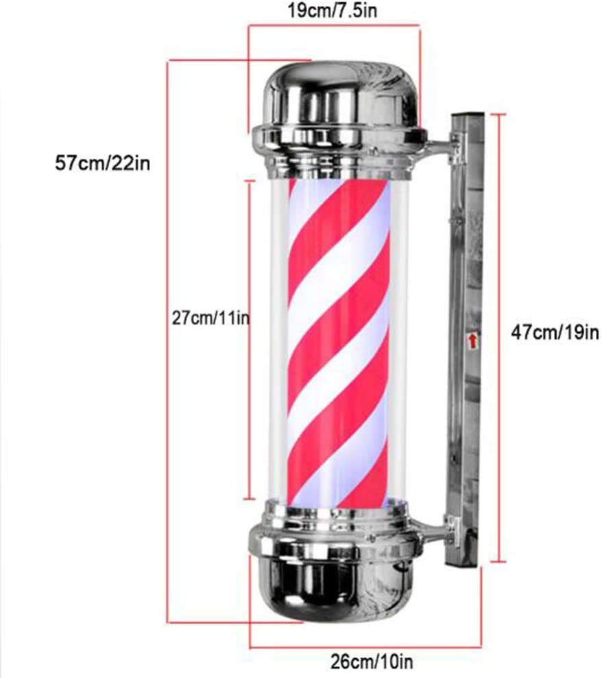 YRYBZ Barber Pole Led Light,outdoor Classic Style Hair Salon Barber Shop Sign,rotating Illuminating Red White Led Strips,waterproof Save Energy Retro 57cm/22in