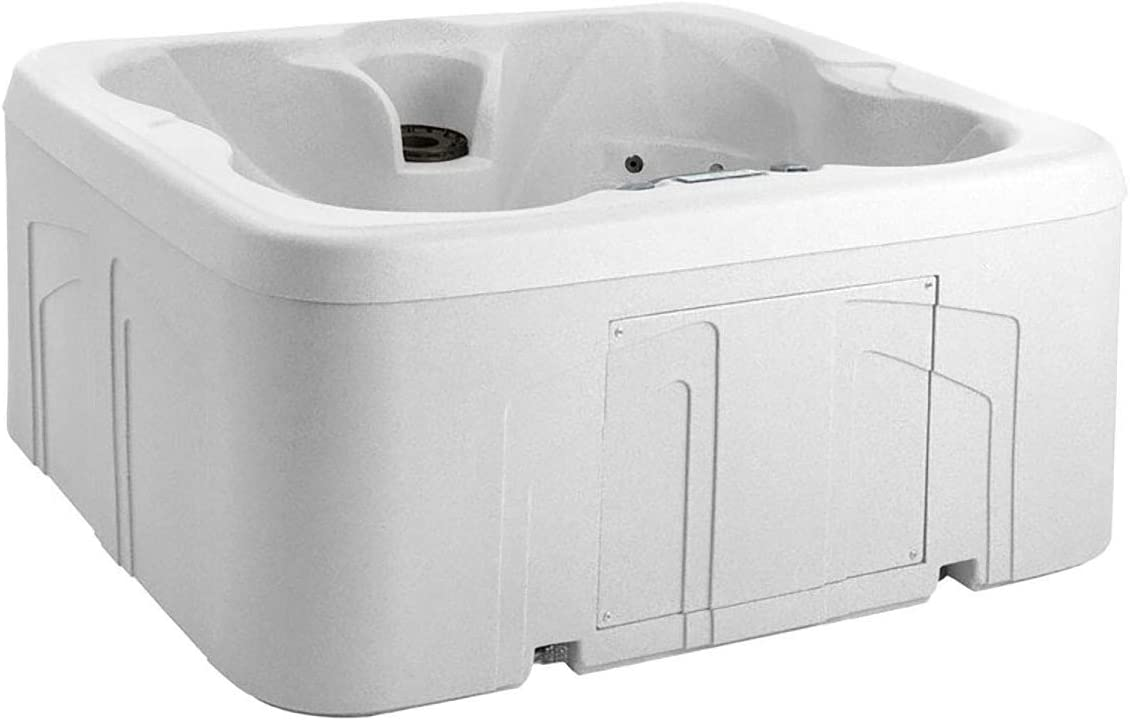 LIFE SMART 4 Person Energy Efficient Plug Play Square Backyard Hot Tub Spa with 13 Jets, LED Light, and Cover, Sea Salt