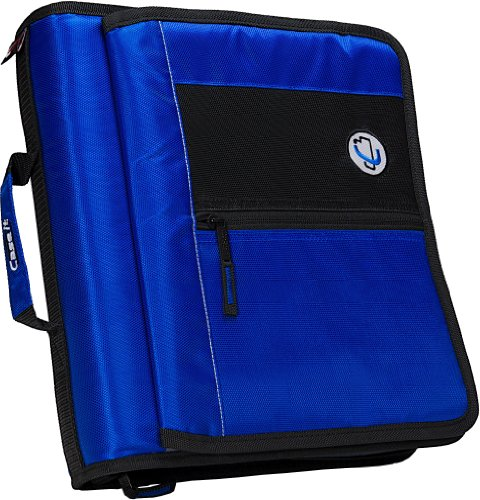 Case-It 5.1 cm redondo anillo cierre carpeta de anillas con velcro Messenger frontal, Azul